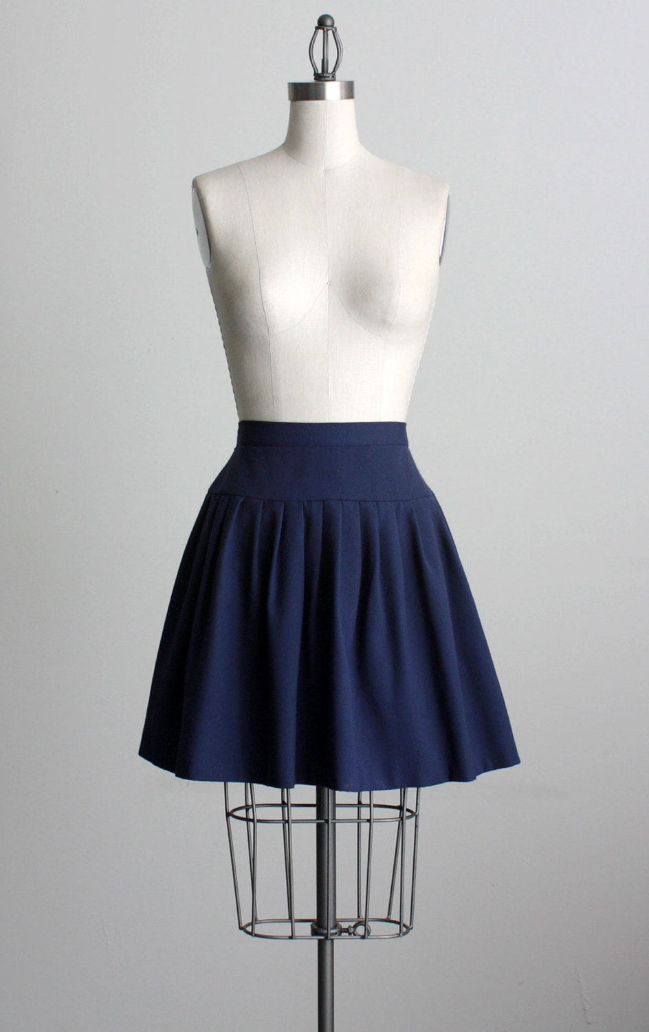 blue mini skirt 1980s vintage navy blue pleated by