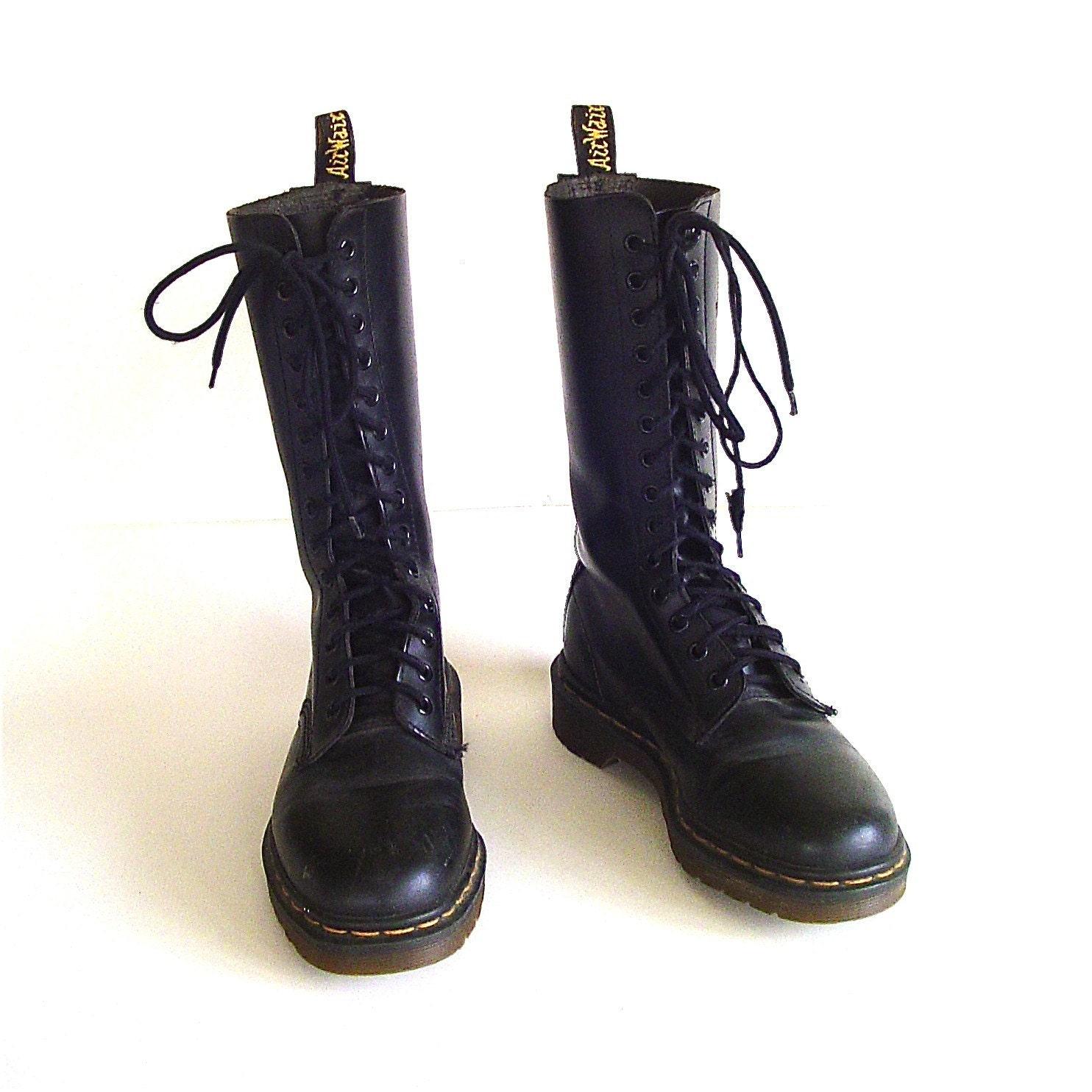 vintage doc martens black leather combat boots by