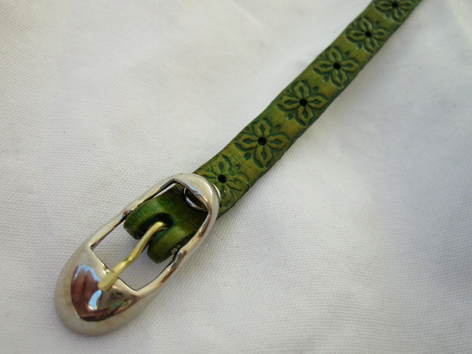 Leaf Green tooled leather bracelet strap