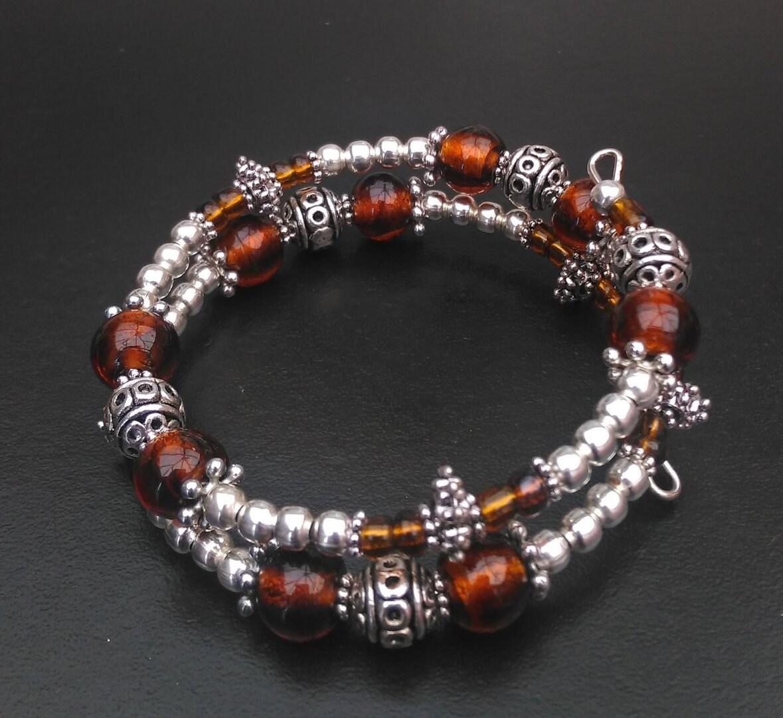 Amber Coloured Memory Wire Bracelet Beaded Memory Wire Bracelet Memory Wire Bracelet Amber Bead Bracelet