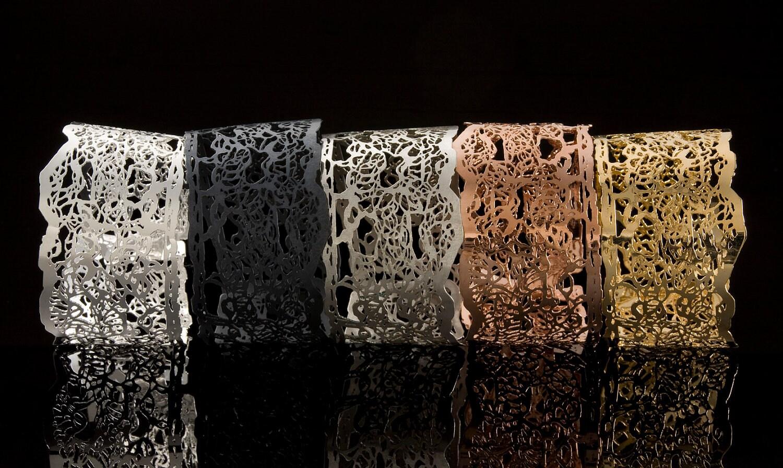 Wide Lace cuff Bracelet, Silver, gold, black, rose gold - bridesmaids set - inbarshahak