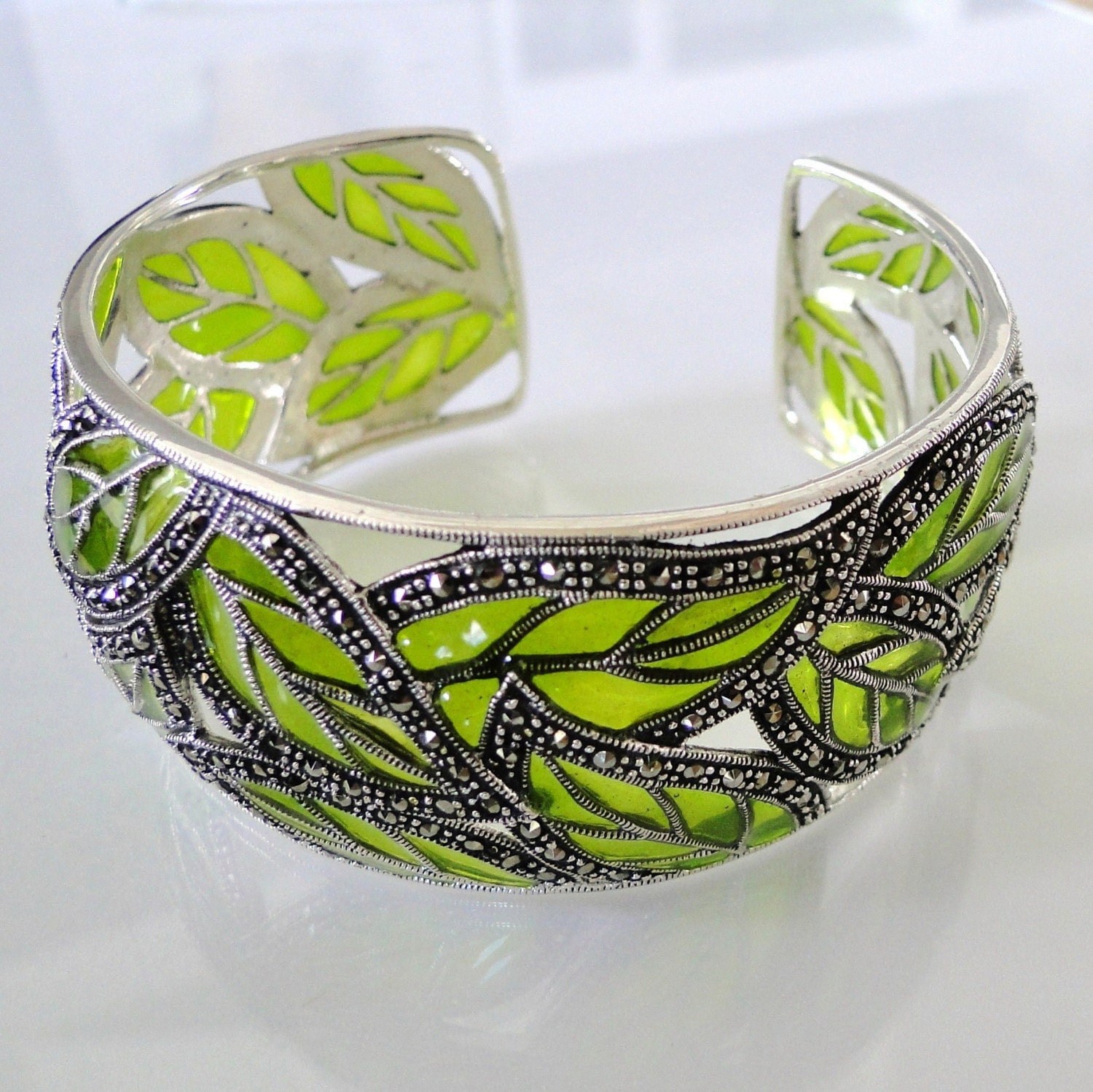 Falling Leaves - Stunning Marcasite, Sterling Silver, and Resin Cuff Bracelet