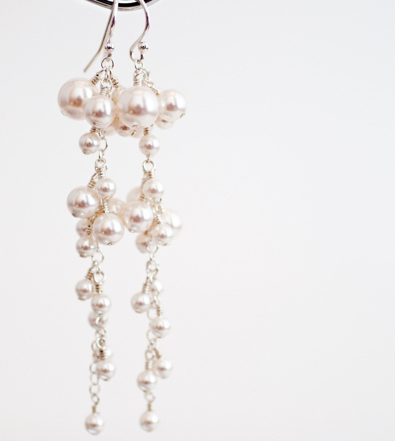 Earrings, Bridal Wedding. Elegant and Glamorous Long Drop Cluster Dangle Winter White Pearl and Sterling Silver Statement Beaded Glamour Custom Handmade Jewellery for the Bride or your Bridesmaids