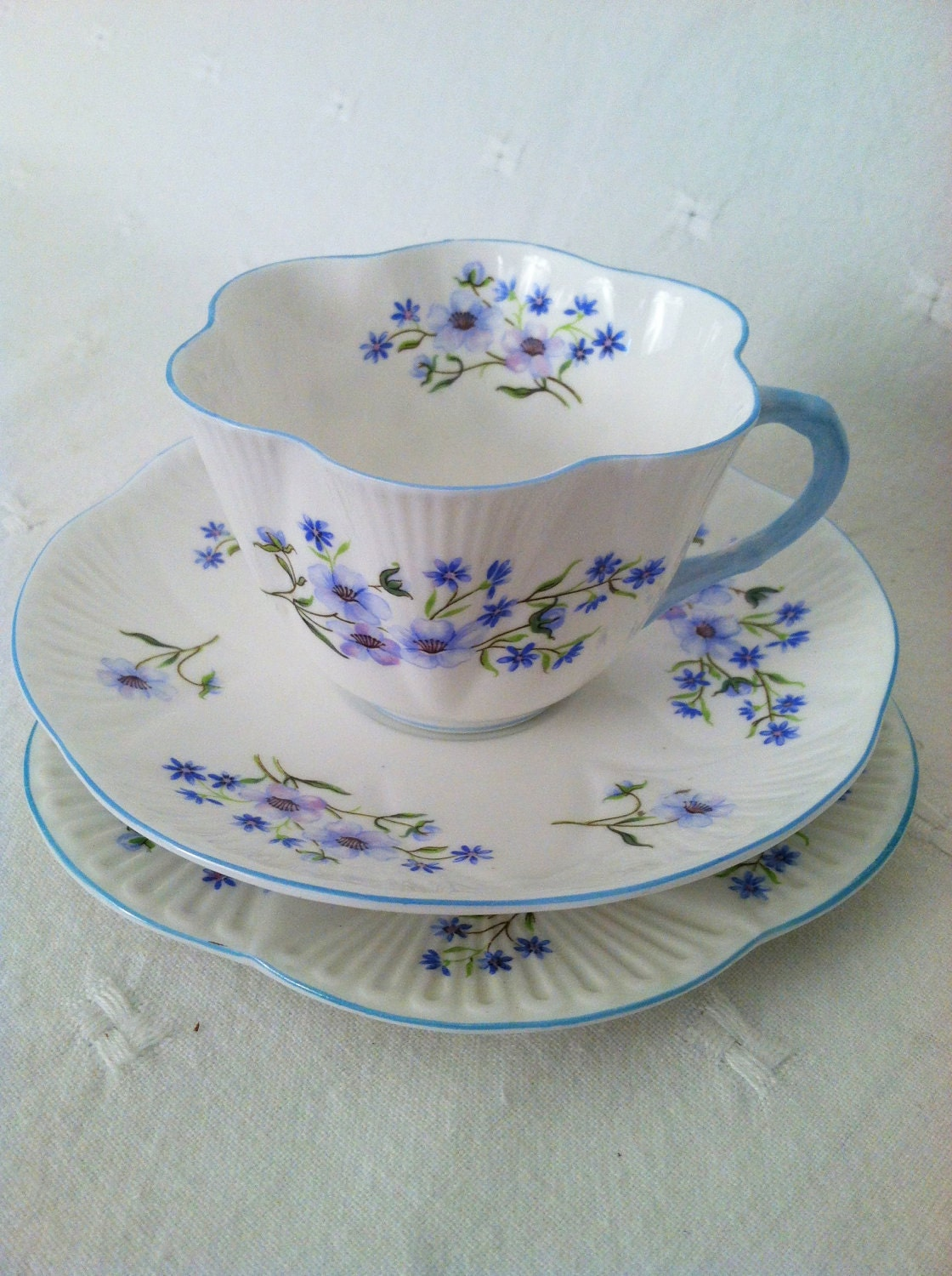 "Shelley ""Blue Rock"" Tea Cup, Saucer and Plate Trio - Circa 1945 - 1966"