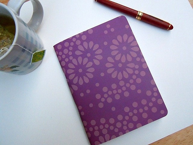 Plum Notebook/Sketchbook/Journal with a cute flower