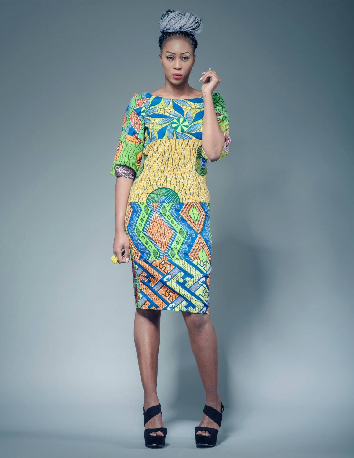 Diana Green mix African print fitted dress sosome