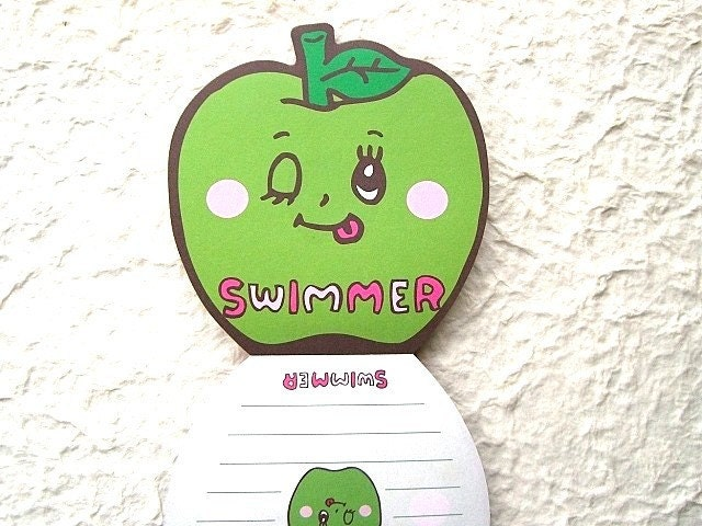 Kawaii Cute Japanese Anime Memo Pad - Swimmer - Cute Glittery Smiling Apple Girl GREEN