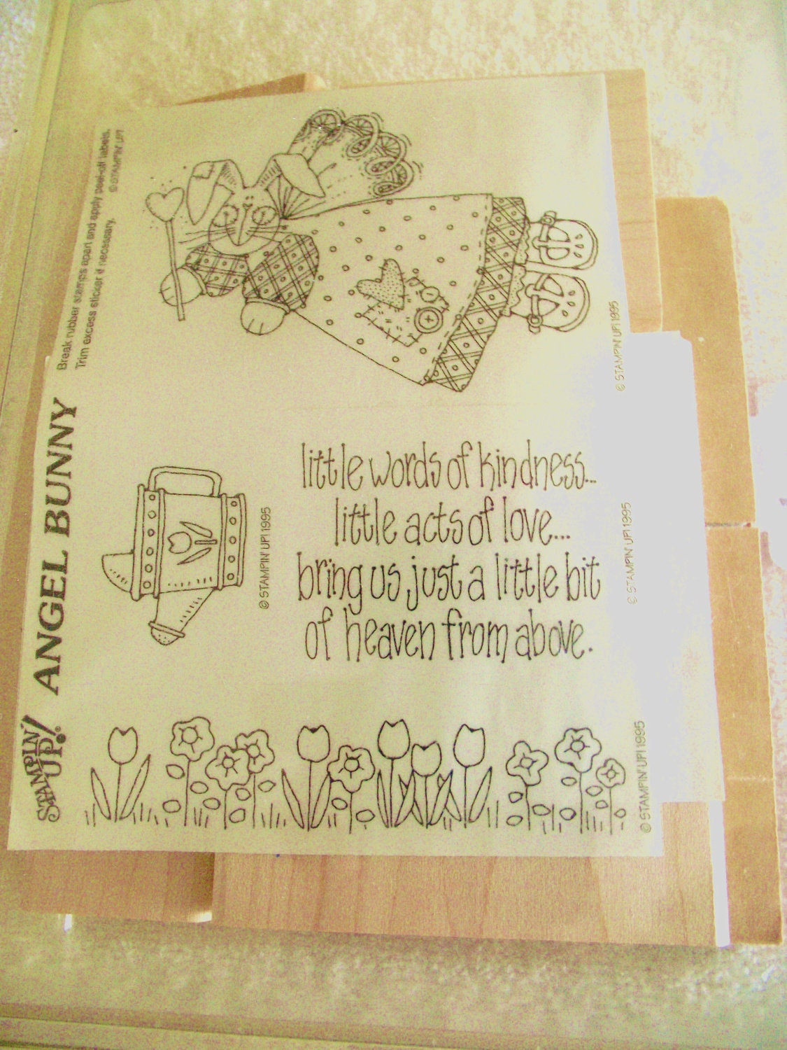 Stampin Up Angel Bunny Rubber Stamp Set Of 4 By Mypaperplace