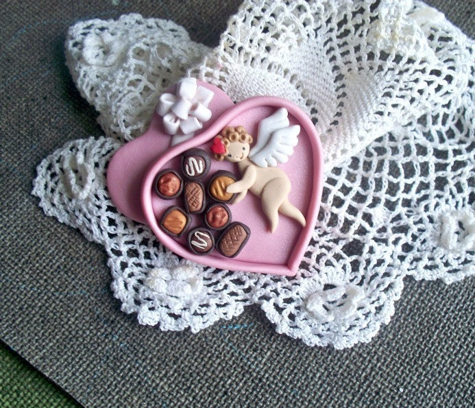 A Valentine Cupid Candy Box Brooch Clay BY Raquel PINLADY