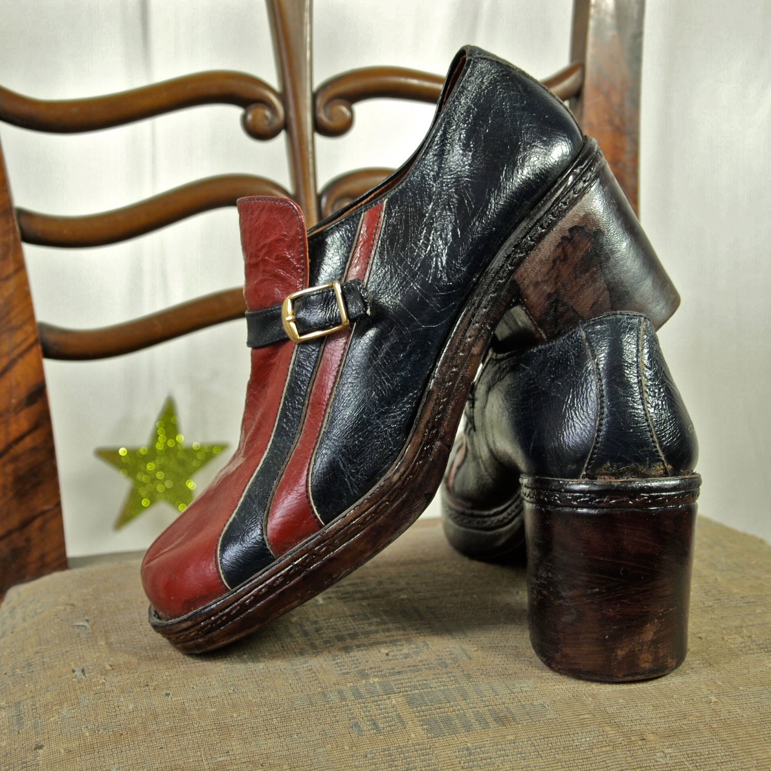 70 s platform shoes s navy and racing by