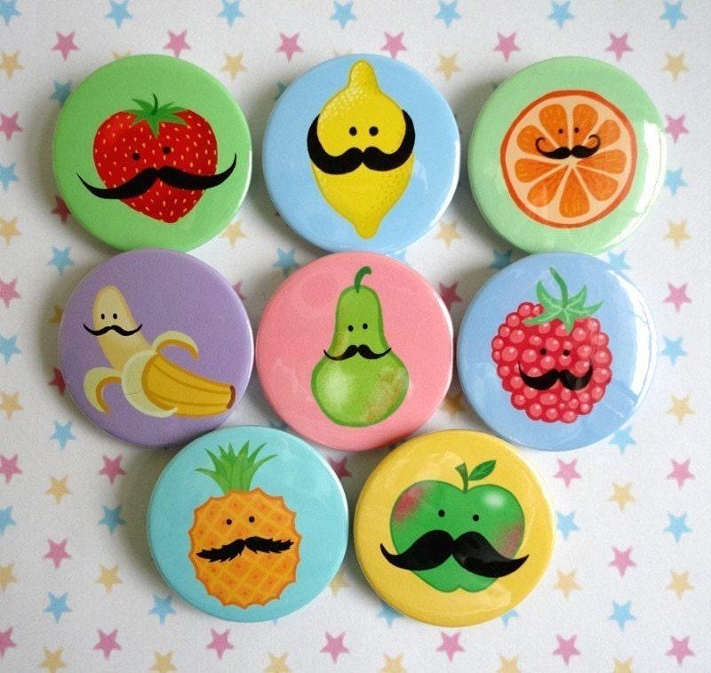 Eight Fruity Mustashe Badges from Kikichoo