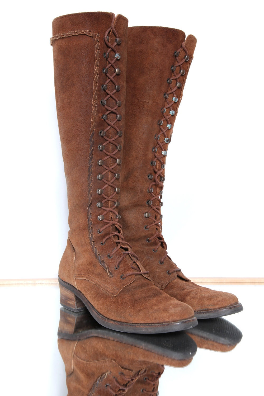 brown suede lace up boot 7 5 by blackgatestudio on etsy