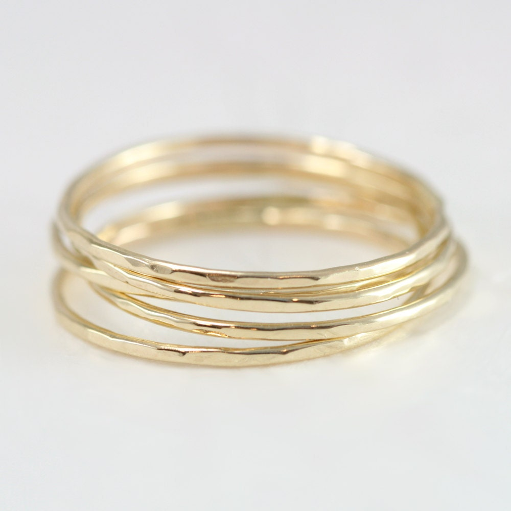 stacking rings in 14k gold thin gold rings by
