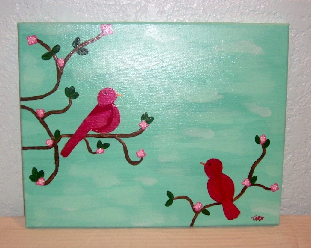 Turquoise  and Red Love Birds Cardinals Original Acrylic Painting 11x14