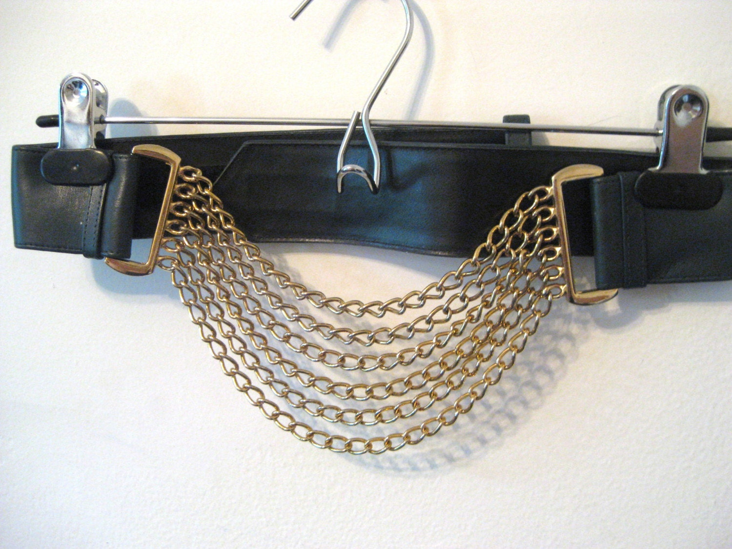 80s dark green belt with hanging gold chains xs sm med lg