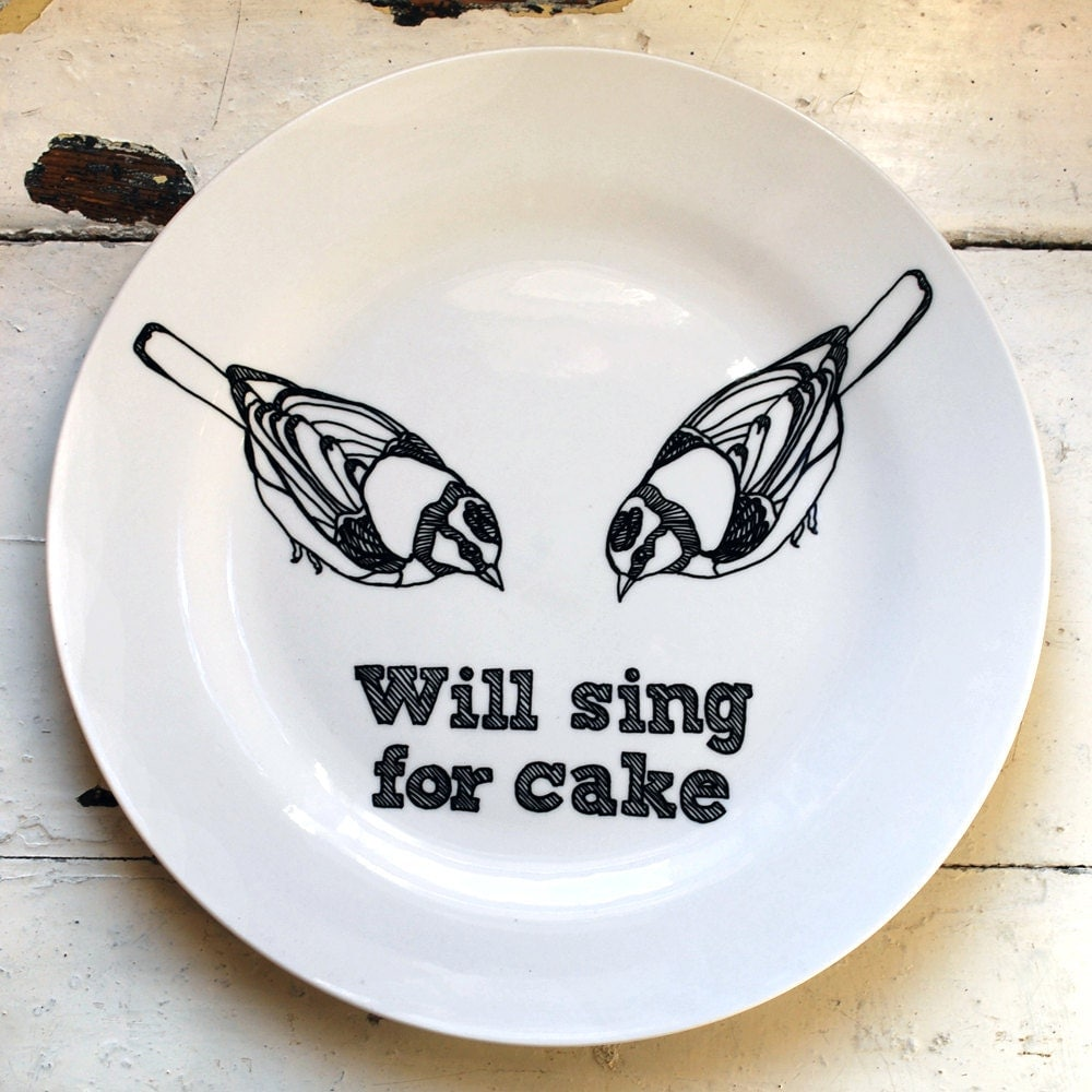 Hand Drawn Plate - Birds Sing For Cake - InkBandit