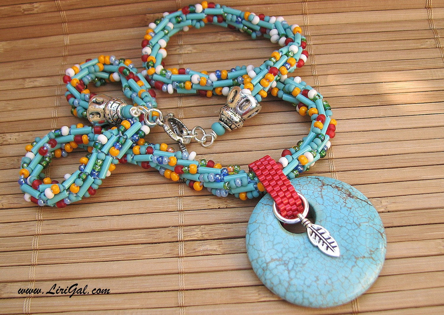 Summer western. Beaded Crocheted Necklace