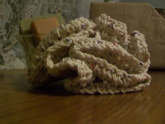 Bath and Shower Scrubbie 5 inch Crocheted Cotton Oatmeal colored