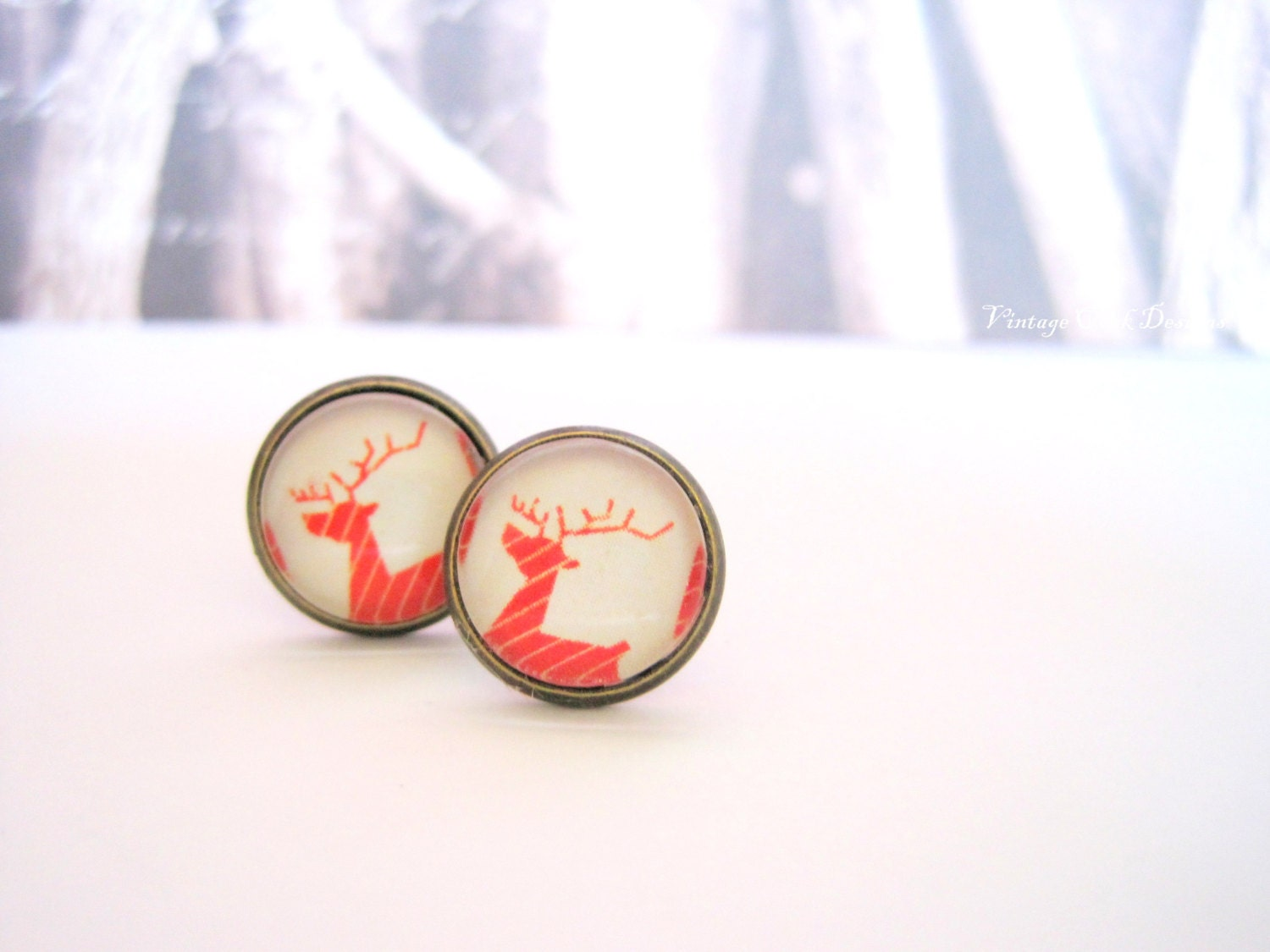 Reindeer Earrings, Nordic Earrings, Christmas Earrings ,Reindeer Studs, Christmas gift Idea, Christmas Jewelry, Gift for her, Winter Trends - VintageOoakDesigns