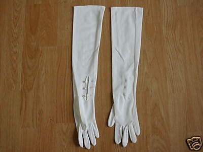 VINTAGE 60s WHITE  21 INCH LONG OPERA GLOVES