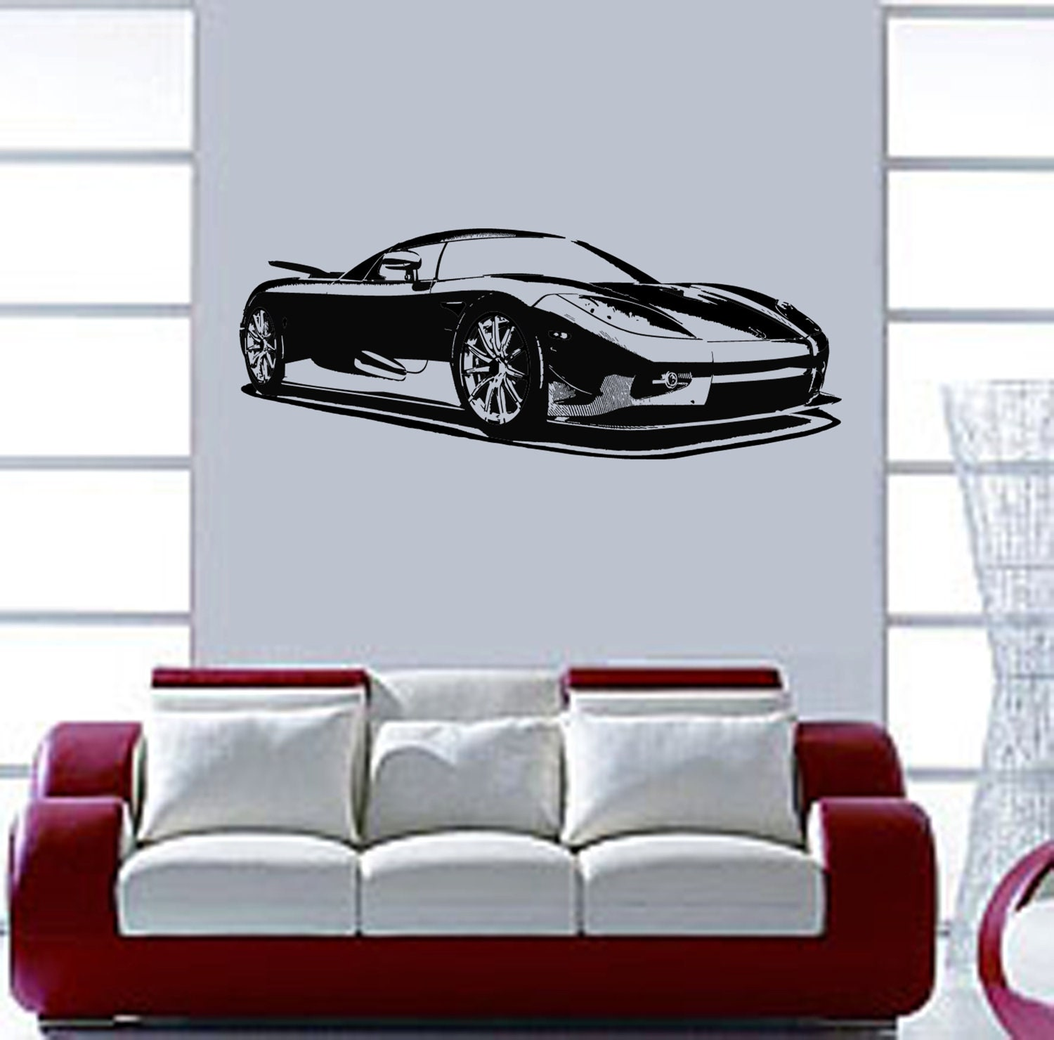 Items similar to race car wall mural art vinyl decal for Cars wall mural sticker