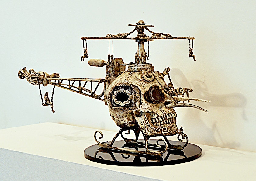 One of a kind steampunk surrealistic skull helicopter - spiderjelly