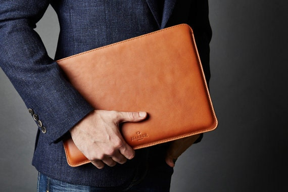 New 12 Macbook Leather Sleeve Case And Wool Felt Laptop Cover Handmade