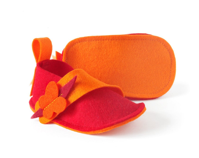 Orange & red baby girls shoes Butterflies baby ballet flats, newborn girls soft booties, kids slippers