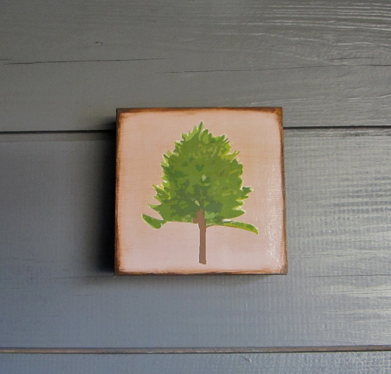 Forest Woodland Art Blocks 5x5 Norway Pine Autumn Fall Tree Nature Brown Wood Green Olive Minnesota State - redtilestudio
