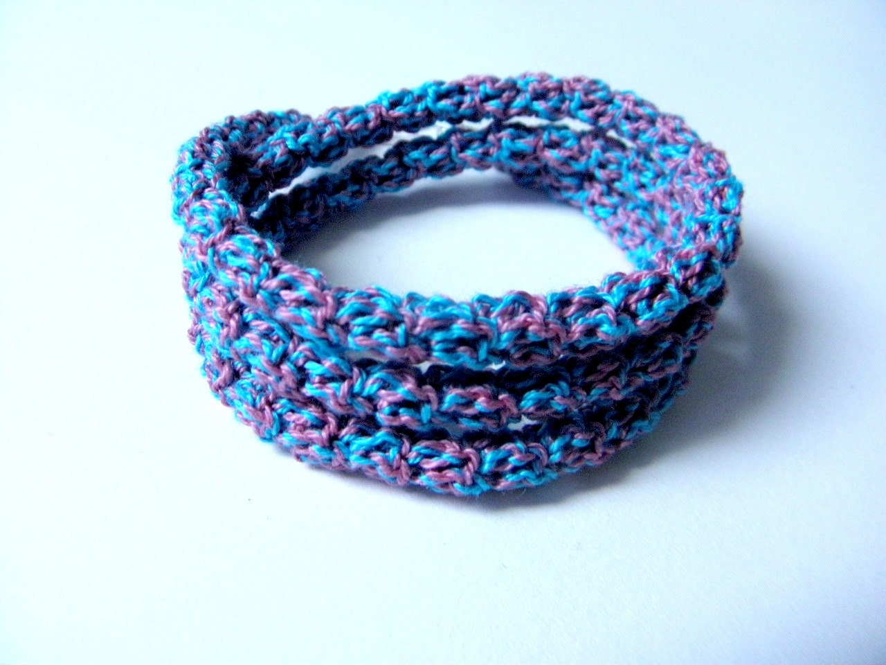 Crochet bracelet made of cotton blue and pink color