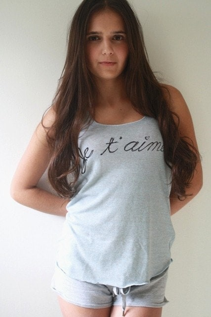 Eco-Heather Racerback Tank- JE T'AIME