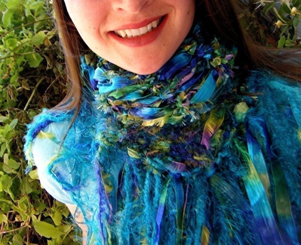 Peacock of the Sea Handknit Blue, Green, Purple Ribbon Scarf with Feathery Accents Ain't No Chicken