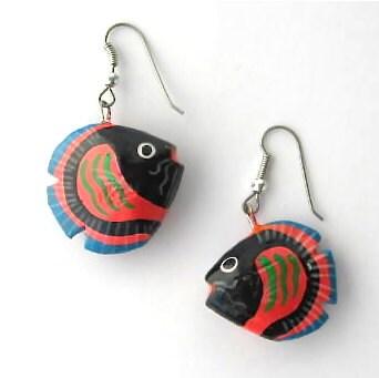 Earrings Fish Animals Pets Red Blue Black Wood Special Cute - VeraReyniers