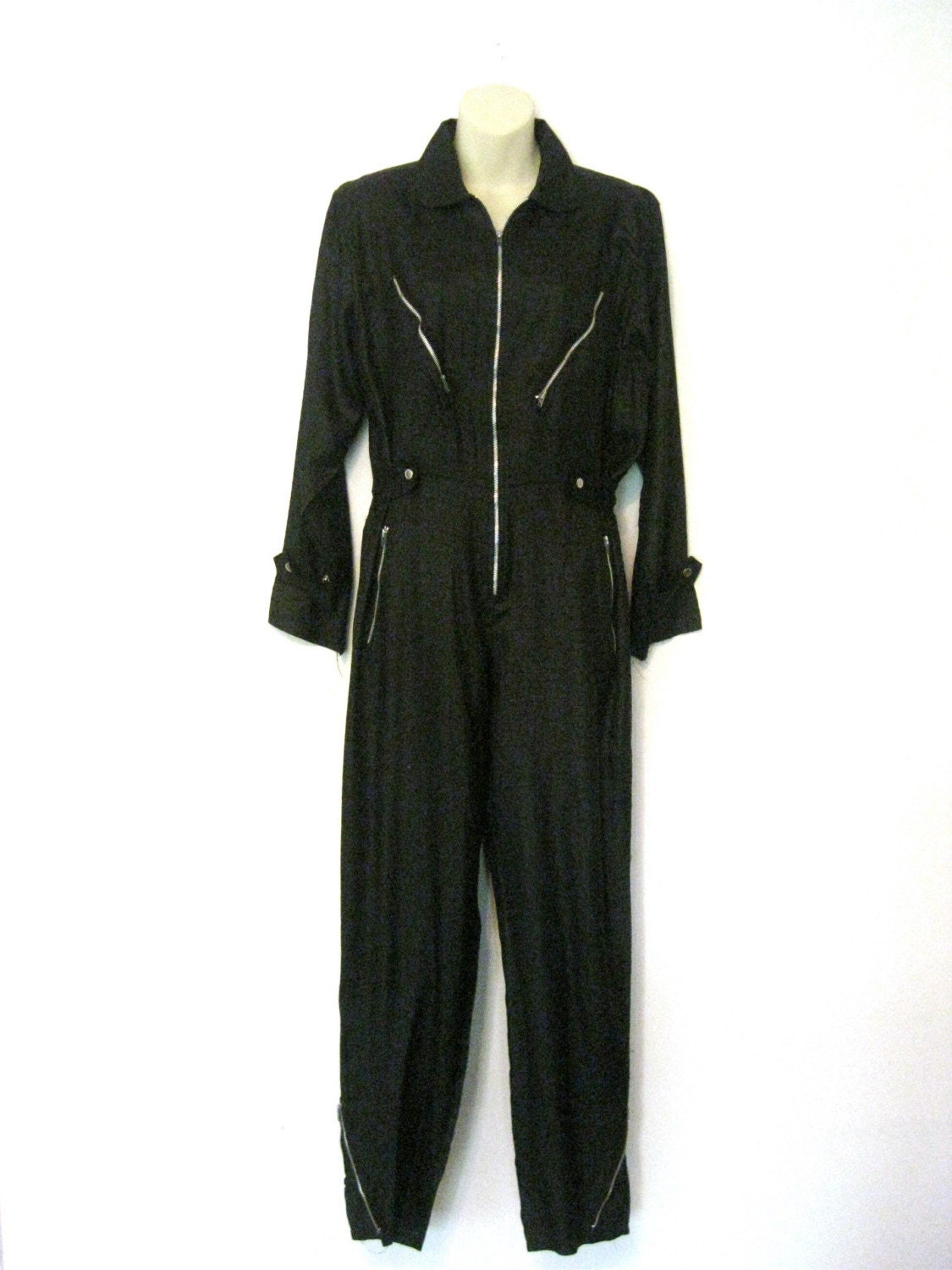 motorcycle jacket inspired black silk 80s jumpsuit vintage Kenar SM MED