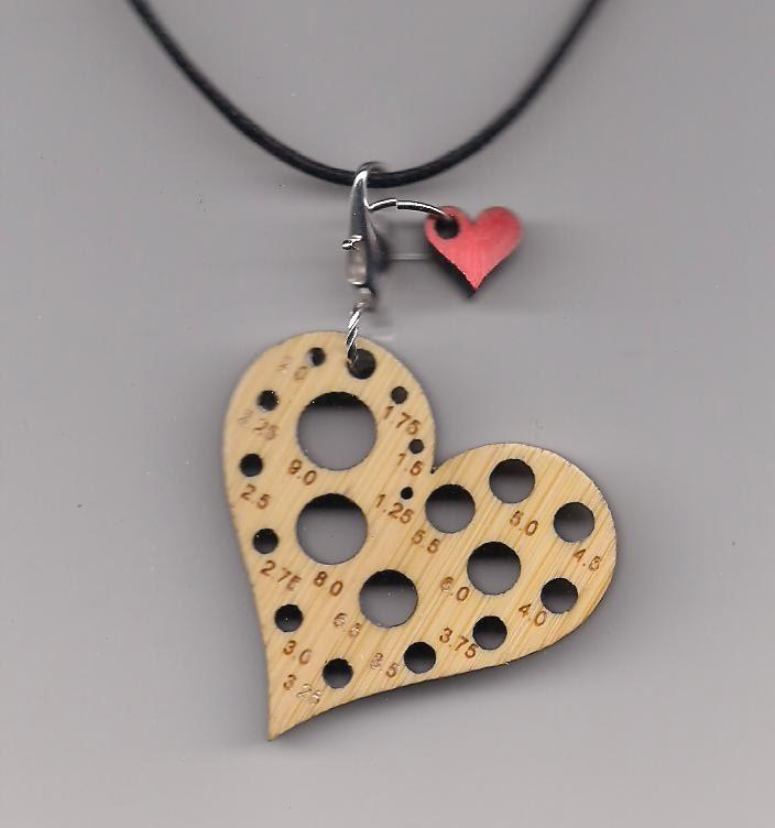 Knitting Needle Gauge Necklace : Heart bamboolery reversible knitting needle gauge by karatstix