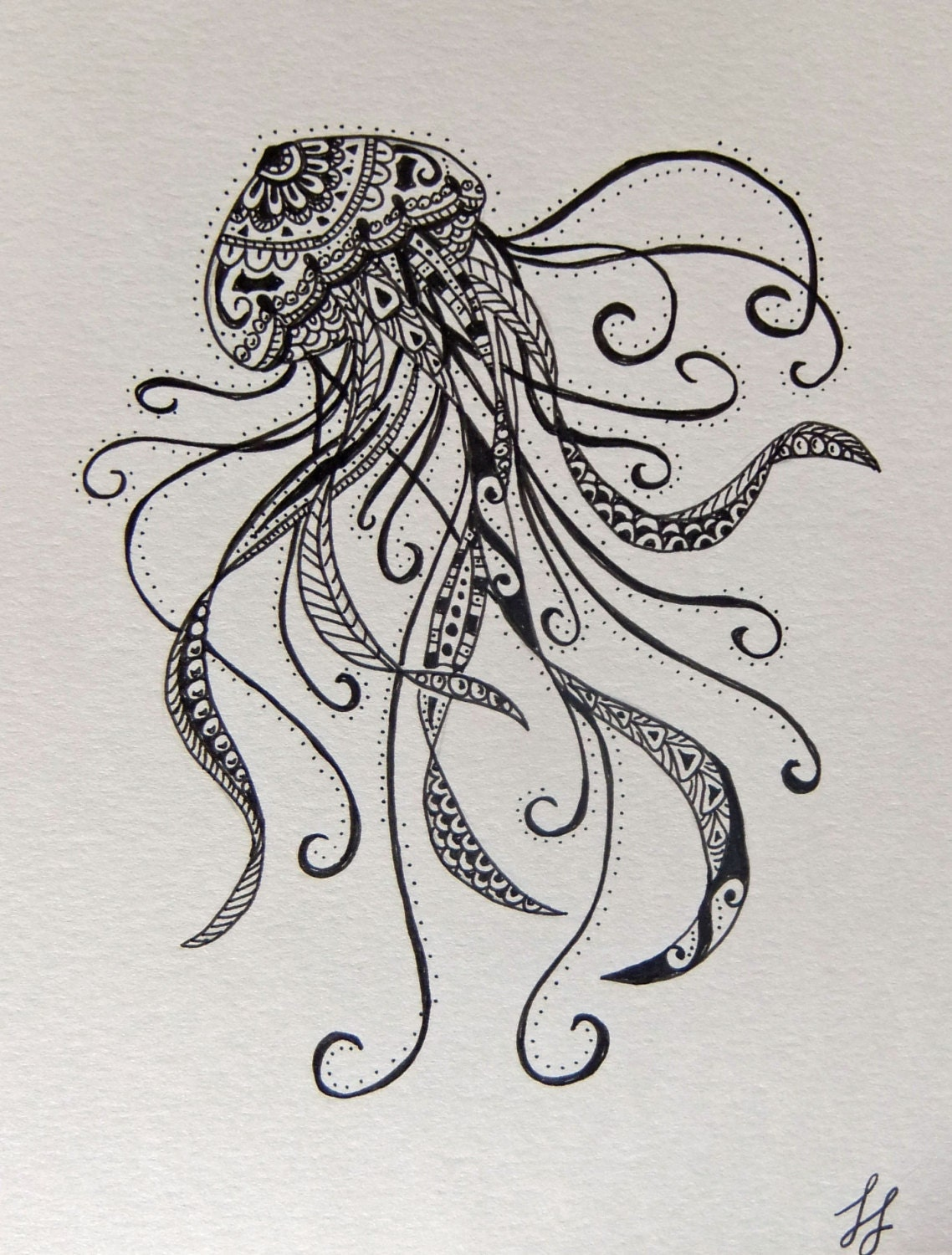 Items similar to Jellyfish Zentangle Style Drawing on Etsy
