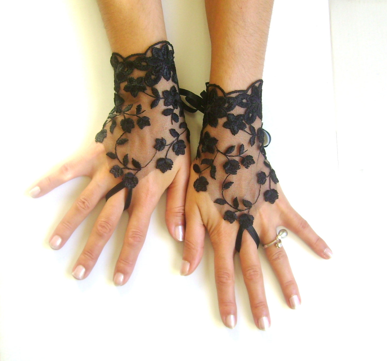 Black tulle lace gloves embroidery bridal wedding by for Lace glove tattoo