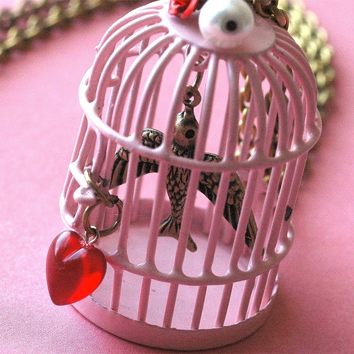 Etsy :: bombalurina :: My Golden Birdie birdcage necklace in baby pink from etsy.com