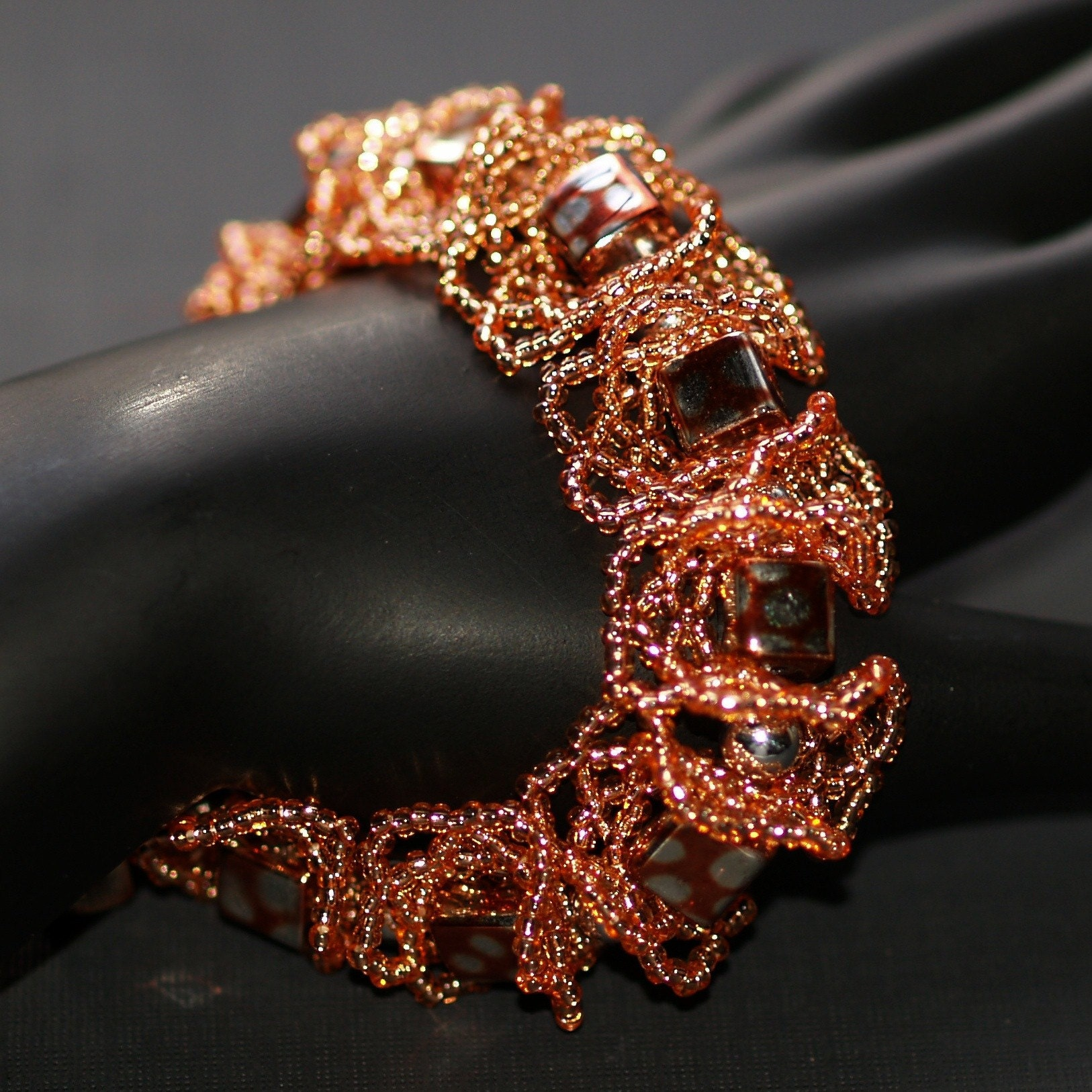 Coppery Cubes and Curls - Oglala Bracelet in Copper and Silver (3105)