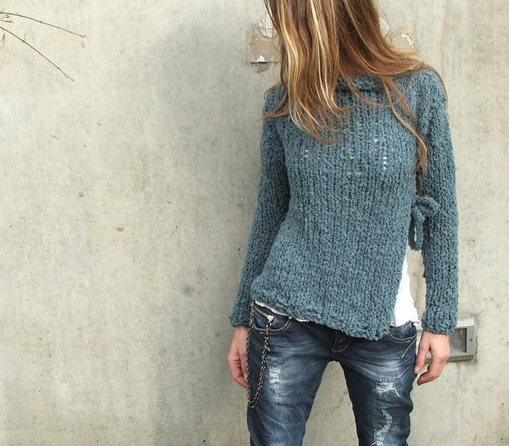 Petroleum Teal, side slit Sweater