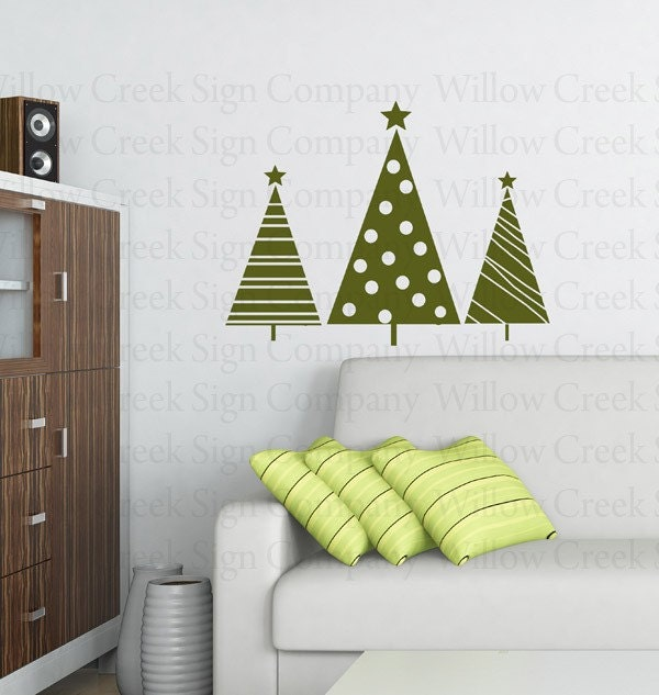 Christmas Trees Vinyl Wall Art Decals Graphics Custom Words Lettering Illustration