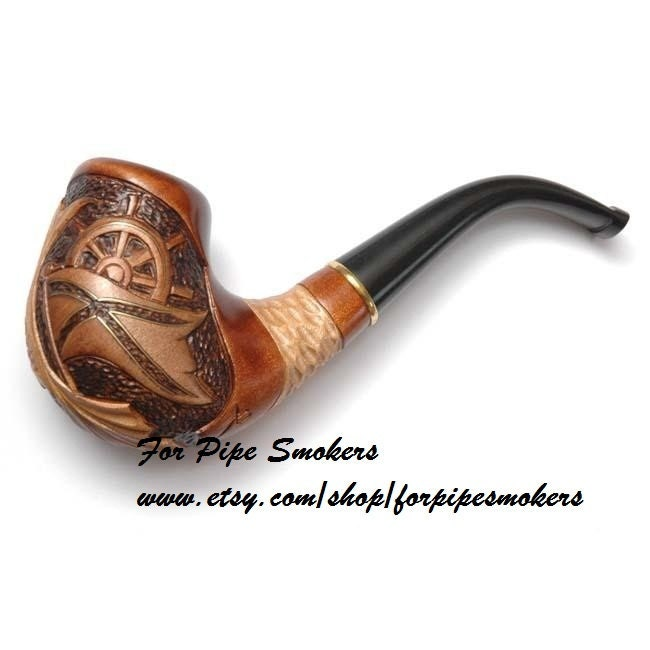 Hand carved wood tobacco smoking pipe pipes by