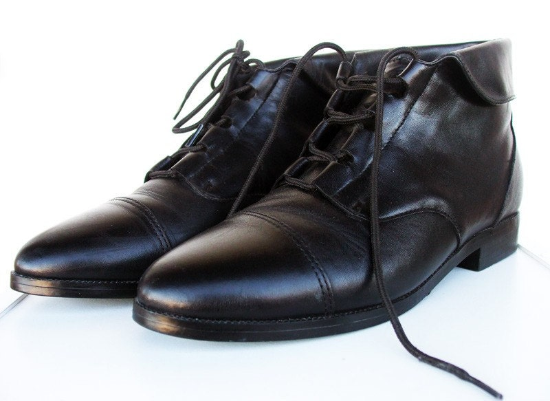 On Sale For Only 30 - Size 8 Black Leather Ankle Lace Up Fold Over Grunge Granny Booties 1980s 1990s - Free Domestic Shipping