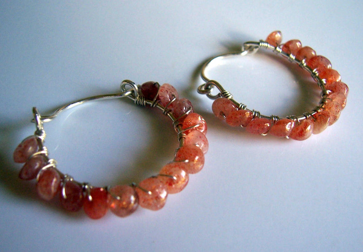 Sunstone and sterling silver wire wrapped hoop earrings