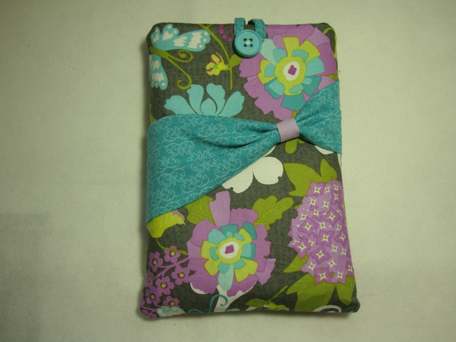 Padded Kindle Sleeve, Spring Floral Print, Lavender, Purple, Grey and Aqua