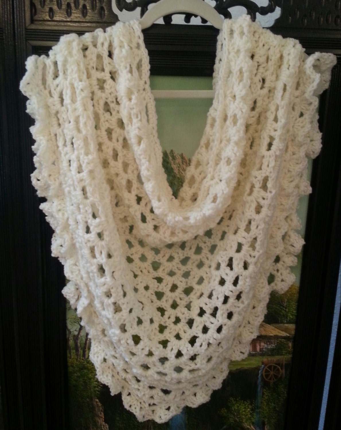 Crochet Triangle Shawl Patterns For Beginners : Items similar to Crochet Pattern Lace Shawl Bridal Shawl ...