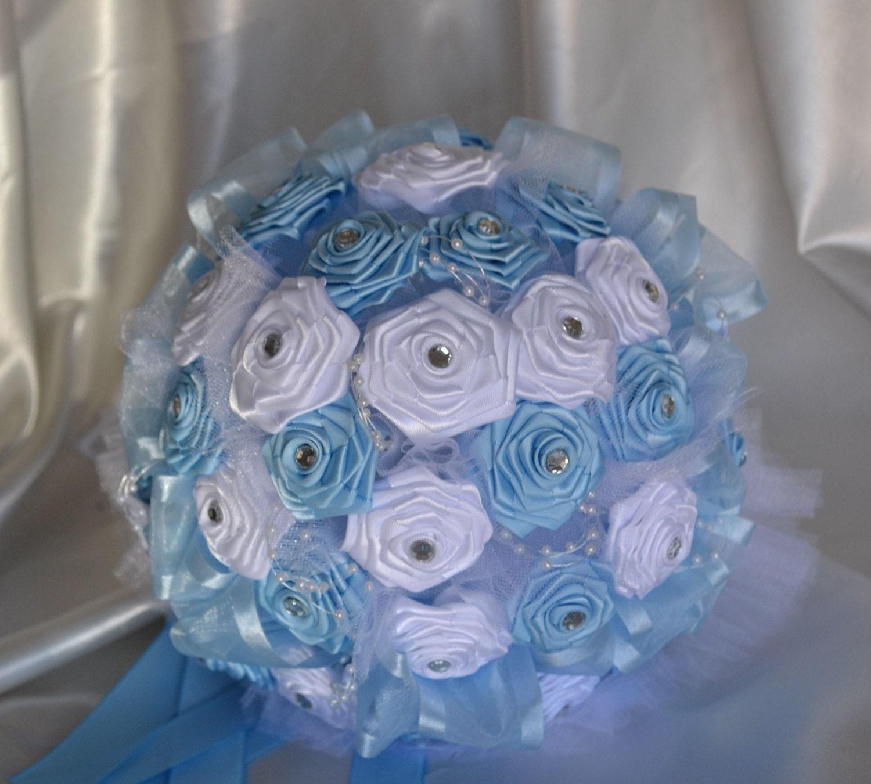 Wedding Bouquet Satin Light Blue With White Flowers Round Baby Blue