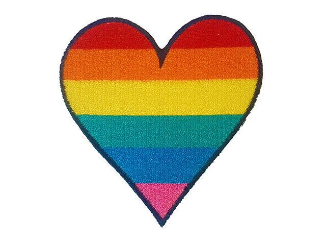 Rainbow Heart Gay Pride Iron On Patch Embroidery Sewing DIY Customise Denim Cotton