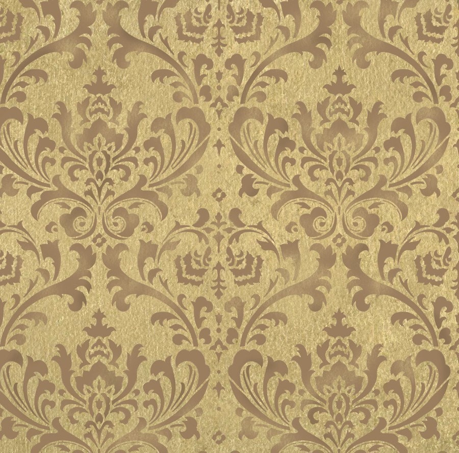WALL STENCIL DAMASK BROCADE PATTERN 24X26 Wallpaper Stenciling Wall Decor