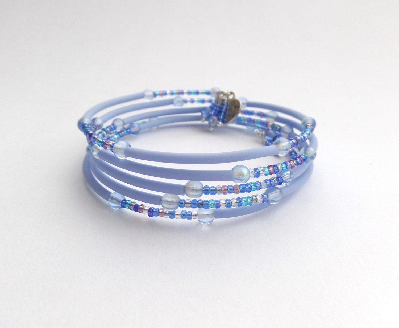 Pale Blue Bangle Beaded Flexi Bracelet  Modern Contemporary Memory Wire Bangle